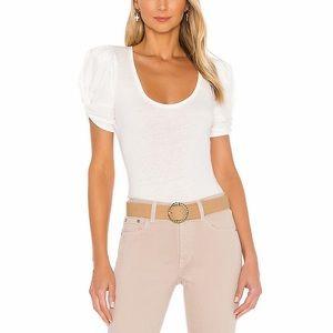 NWT Free People White Ava Puff Sleeve Bodysuit